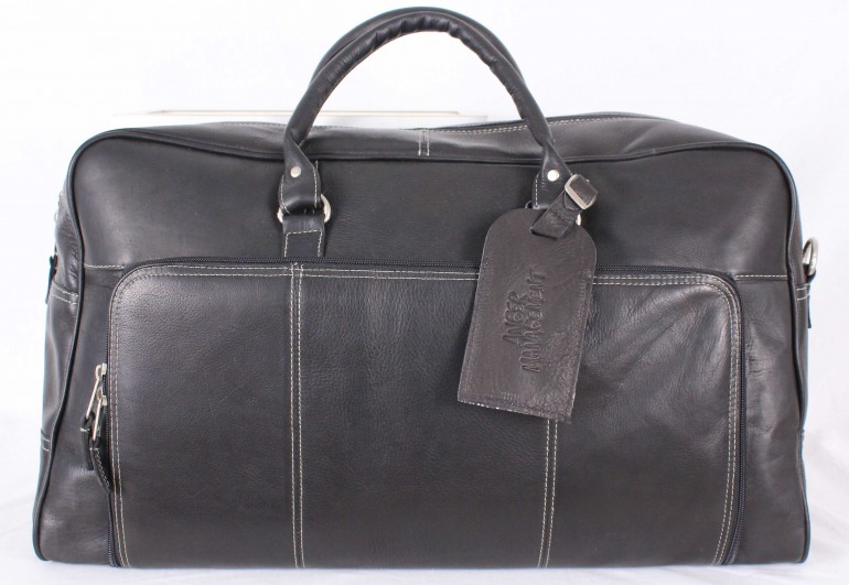 anger management leather duffle is a high end gift for a