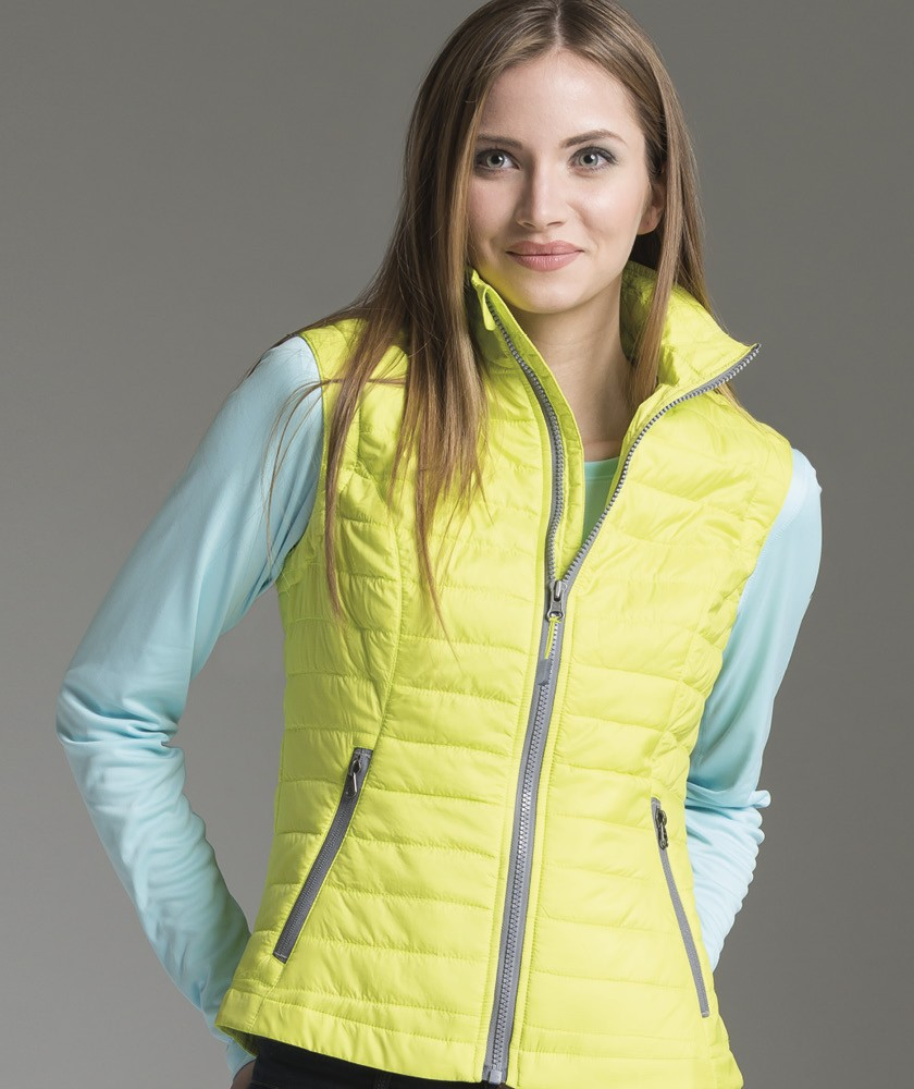 green quilt quilted service vest padded camp pullover
