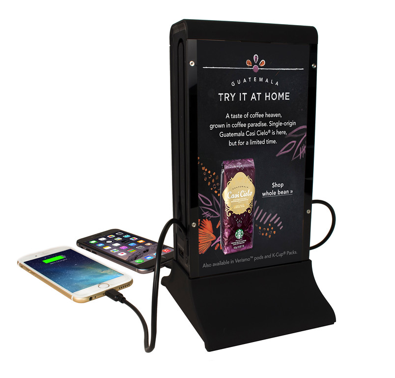 4 phone charging station with custom video display
