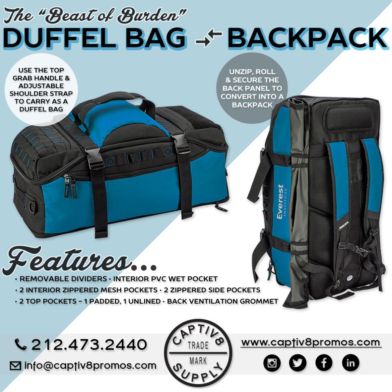 fb6502a4206a A Duffel Bag that Converts into a Backpack! - Captiv8 Promotions