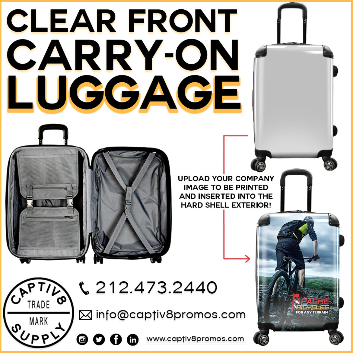 e39751929386 Captiv8 Supply  Bring your brand to life with this carry-on size luggage!  Turn your company image into a vibrant insert that resides inside the clear  front ...