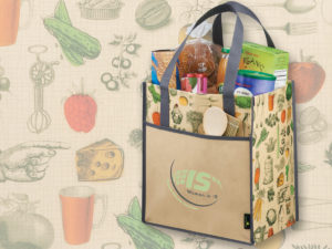 Oversized Grocery Tote with Vintage Design