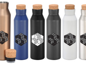 Stainless Steel Bottles with Screw-On Cork Lids