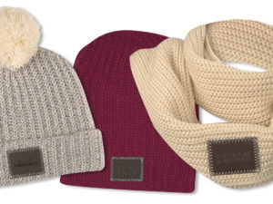 Beanies & Infinity Scarves with Debossed Leather Patches